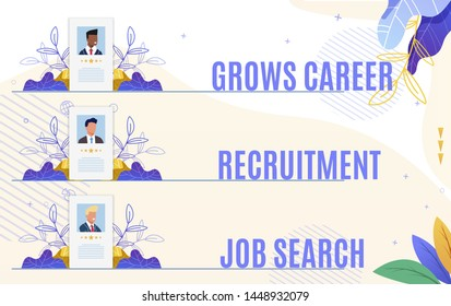 Set Flyer Grows Career Recruitment Job Search. Automation Employee Development Systems for Companies. Methods Identification and Development Talented Employees. Vector Illustration.