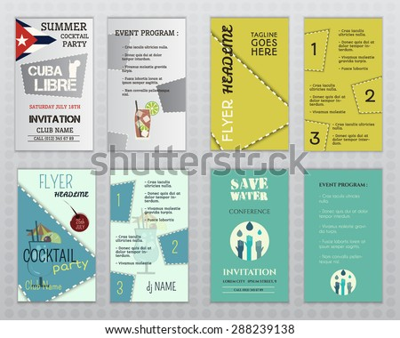 set flyer layout templates cocktail party stock vector royalty free