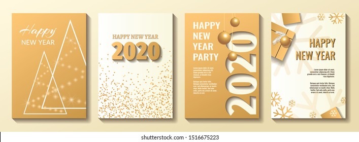 Set of Flyer, poster, banner, brochure design templates for Happy new year 2020. White and gold collors. Christmas balls, abstract christmas tree, snowflakes, gift box. Perfect for invitation, card.