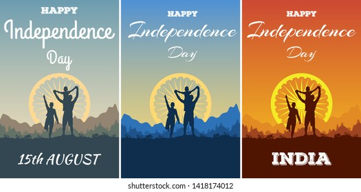 Set of flyer, poster or greeting card with silhouette happy family outdoor celebrating Happy Independence Day of India. Nature and mountain landscape and the Ashok Chakra Dharmachakra Wheel of Law.