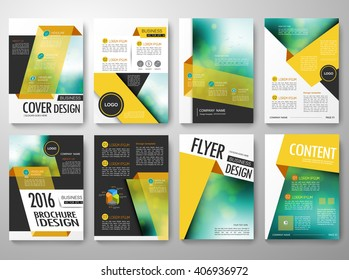 Set of flyers design template vector. Brochure report business magazine poster. Cover book portfolio leaflet or presentation with abstract yellow shape. Layout in A4 size