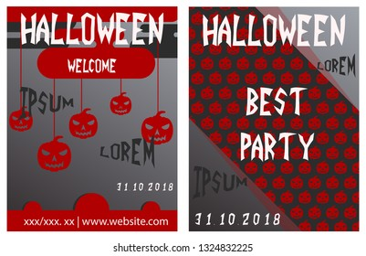 Set of flyers for halloween vector illustration. Templates of posters . Halloween party greeting cards.