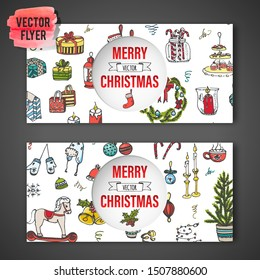 Set of flyers with hand drawn sketchy Merry Christmas elements. Doodle vector illustration. Candles, gift, boxes, christmas tree, wreath, stocking, candy canes, cookie, bells, holly decoration