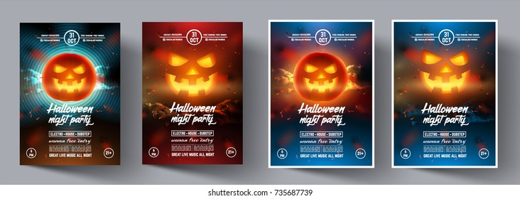 Set of Flyers for a night party in the style of Helloween. Vector pumpkin face on modern colourful background for cover, banner, brochure, poster, presentations. Vector illustration