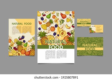Set of flyers, posters, banners, business cards, cafe or restaurant menu design templates. Natural food. Drawn fresh fruits.