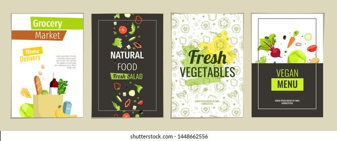 Set of flyers, posters, banners, cafe or restaurant menu design templates. Natural food, Vegan menu, Fresh vegetables, Grocery market concept.