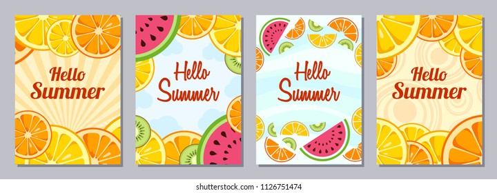 Set of flyers, posters, banners, placards, brochure design templates A6 size. Hello Summer backgrounds with slices of lemon, orange, kiwi, watermelon. Fruits bright compositions. Vector illustrations.
