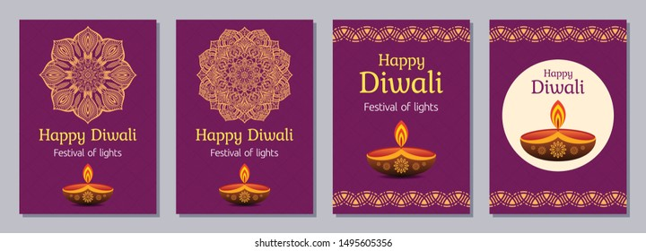 Set of flyers, posters, banners, placards, brochure design templates for Diwali celebration day, Happy Diwali festival. Vertical cards with mandalas, letterings and festive oil lamps. Vector color bac