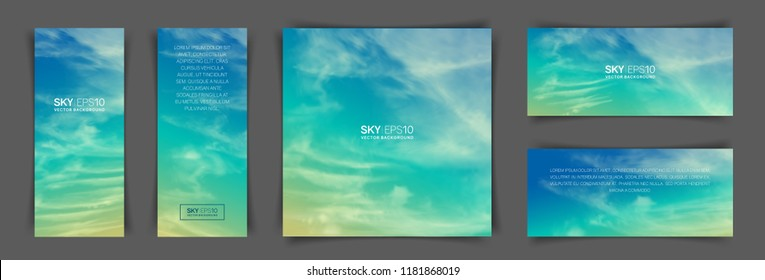 A set of flyers with realistic turquoise-yellow sky and spindrift clouds. The image can be used to design a flyer and postcard.