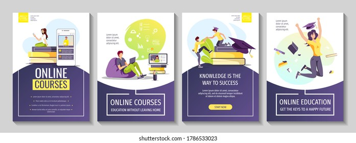 Set of flyers for Studying, training, education, e-learning, courses, university, graduating. People studying at home, graduate caps and books. A4 vector illustration for poster, banner, advertising.