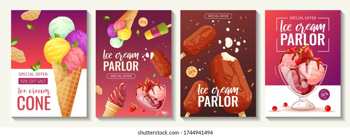 Set of flyers with various ice cream. Ice cream parlor or shop, Sweet products, Dessert concept. A4 vector illustrations for poster, banner, advertisement, commercial, menu, flyer.