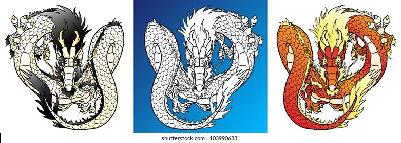 Set flying asian dragons colorful black-white and red and line-art separately on a white background. Vector cartoon illustration, page coloring book