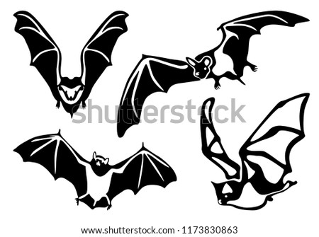 set flying bats isolated on white stock vector royalty free