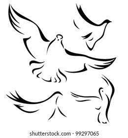 set of flying doves - black vector outlines over white