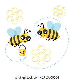 Set of flying honey bees with honeycomb isolated on white background. Vector illustration cute cartoon character. Design for card, pattern, web, flyer