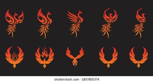 Set of flying phoenix logos. Vector logo design templates.