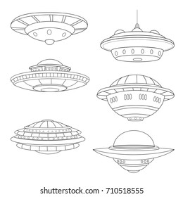 Set of flying saucers. Lineart. White background.