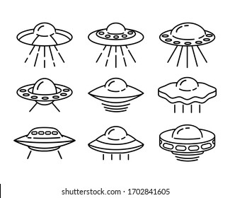 Set of flying Ufo line icons isolated on white background. Alien space ship. Futuristic unknown flying object. World UFO day design. Spaceship vector illustration.