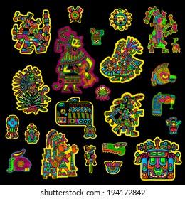 Set of flyuro image of the Maya. Maya designs. Maya design elements.