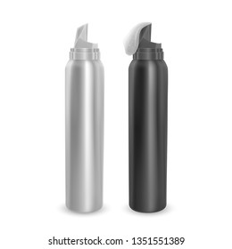 Set of foam bottles black and white, modern advertisement template. Mock-up for product package branding, Metal bottles of shampoo and mousse isolated on white background.
