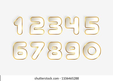 Set of foil numbers from 1 to 0 cuting paper for anniversary, new year logo celebration signs. Abstract papercut shapes. Vector trendy modern minimalism style. Golden sparkling texture. Gold Numbers