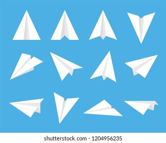 set of fold paper airplane inculde side and front view, flat vector illustration