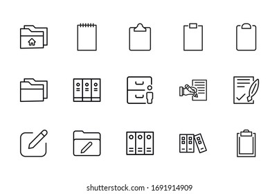 Set of Folder related vector line icons. Premium linear symbols pack. Vector illustration isolated on a white background. Web symbols for web sites and mobile app. Trendy design.