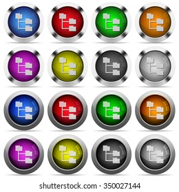 Set of folder structure glossy web buttons. Arranged layer structure.