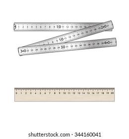 Set. Folding metal ruler and  wood  ruler