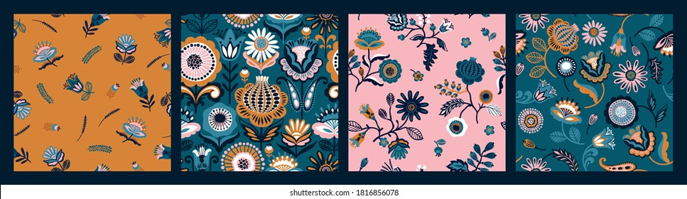 Set of Folk floral seamless patterns. Modern abstract design for paper, cover, fabric, pacing and other users