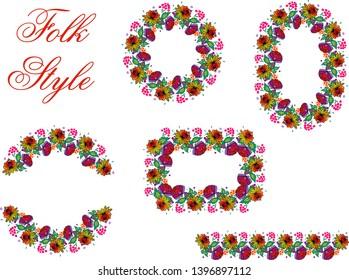 Set of Folk Flower Elements - Slav Folksy Style Garland - Vector Patterned Borders