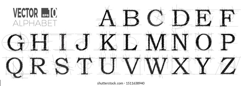 set of font and alphabet, vector of modern abstract letters made with pen. Designer or engineer style project with lines and scribble