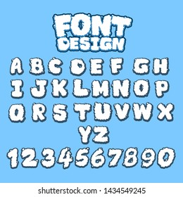 set of font design in smoke style.cloud font design.