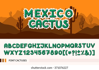 Set font with with spines / thorns. Barbed font. Horizontal banner set with cactus plants isolated vector illustration.