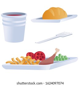 set of food for airplane, isolated object on a white background,