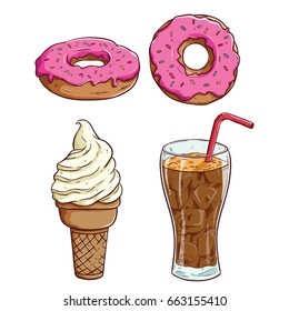 set of food and beverage with donuts, ice cream and soft drink or soda on white background