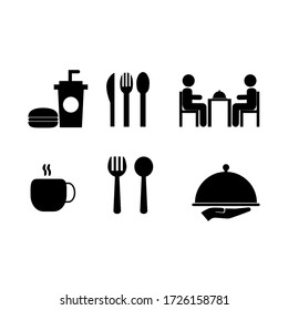 a set of food and beverage vector graphics illustrations, great to use for symbols of restaurants, cafes, canteens and other places to eat