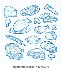 set of food doodle
