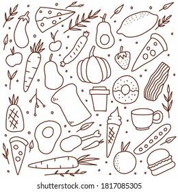 Set of food doodle vector illustration. food doodle vector.