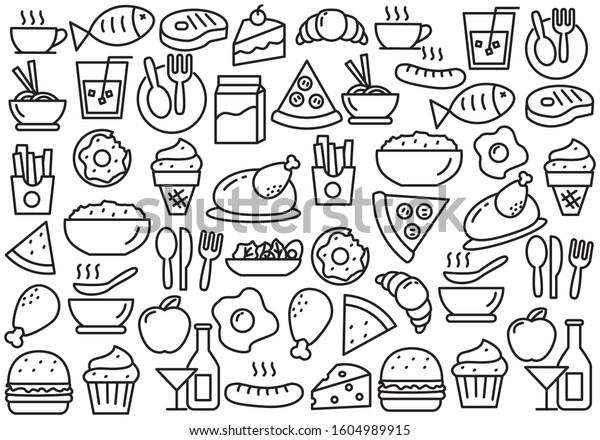 Set of food doodle vector illustration. Food doodle background