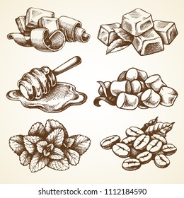 Set with food and drink elements illustrations. Sketch vector ingredients collection: chocolate, caramel, honey, marshmallow, mint leaves, coffee beans.