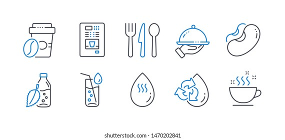 Set of Food and drink icons, such as Recycle water, Food, Water bottle, Restaurant food, Beans, Coffee vending, Takeaway coffee line icons. Refill aqua, Cutlery. Line recycle water icon. Vector