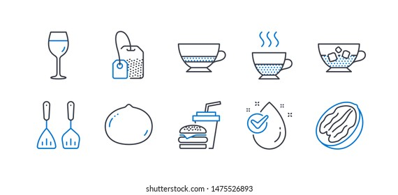 Set of Food and drink icons, such as Water drop, Wine glass, Doppio, Tea bag, Cooking cutlery, Hamburger, Macadamia nut, Bombon coffee, Cold coffee, Pecan nut line icons. Line water drop icon. Vector