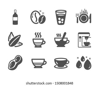 Set of Food and drink icons, such as Sunflower seed, Water drop, Tea cup, Bombon coffee, Food, Ice tea, Coffee maker, Espresso, Peanut, Doppio, Wine bottle classic icons. Sunflower seed icon. Vector