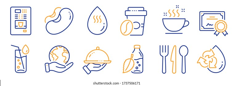 Set of Food and drink icons, such as Recycle water, Food. Certificate, save planet. Water bottle, Restaurant food, Beans. Coffee vending, Takeaway coffee line icons. Refill aqua, Cutlery. Vector