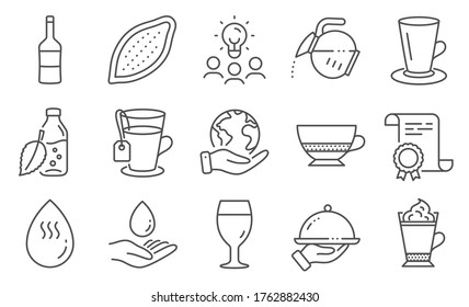 Set of Food and drink icons, such as Wine, Restaurant food. Diploma, ideas, save planet. Water care, Latte coffee, Bombon coffee. Hot water, Tea, Teacup. Cocoa nut, Beer glass line icons. Vector