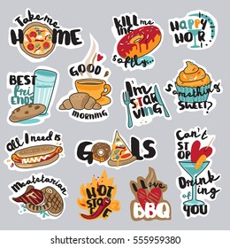 Set of food and drink stickers for social network. Funny stickers for mobile messages, chat, social media, online communication, networking, web design.