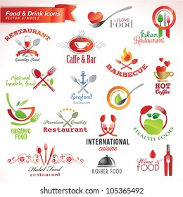 Set of food and drink vector icons