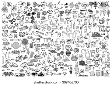 Set of food and drinks doodle on white background.