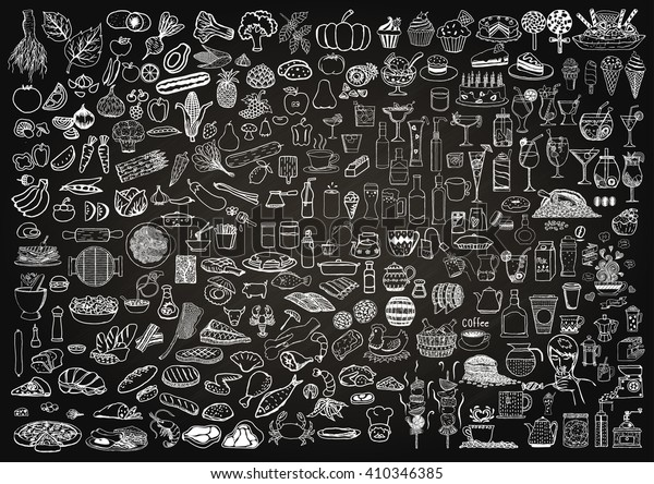 Set of food and drinks doodle on chalkboard background.
